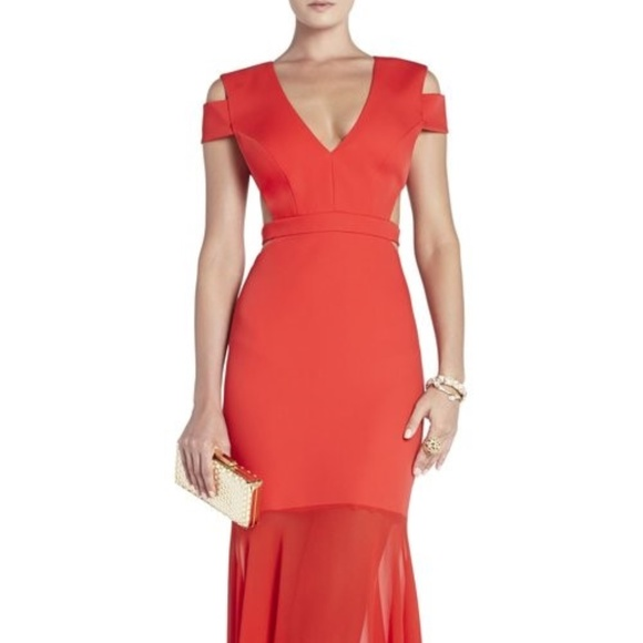 BCBGMaxAzria Dresses | Bcbg Ava Red Cutout Mermaid Formal Prom Dress ...